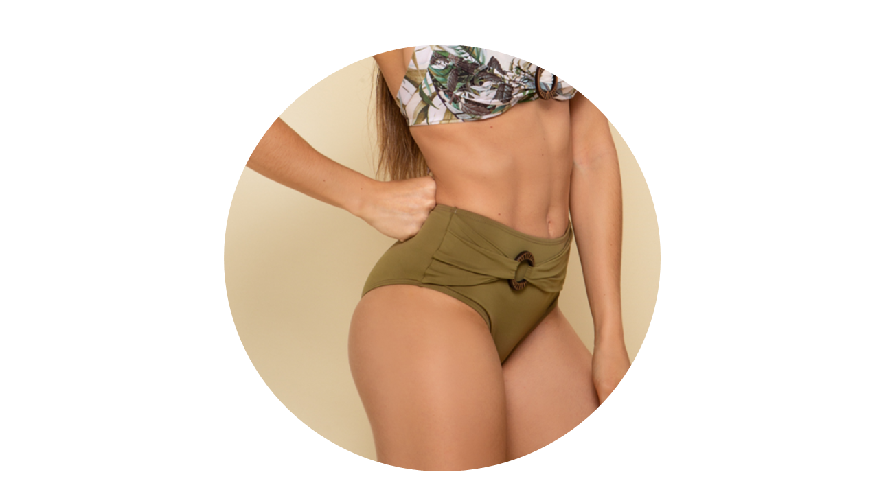 p10276 calcinha biquini hot pant cintura alta lisa verde fivela nova colecao