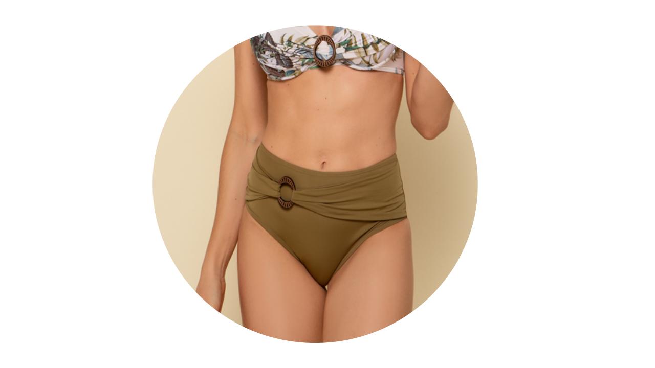 p10276 calcinha biquini hot pant cintura alta lisa verde fivela nova colecao 1
