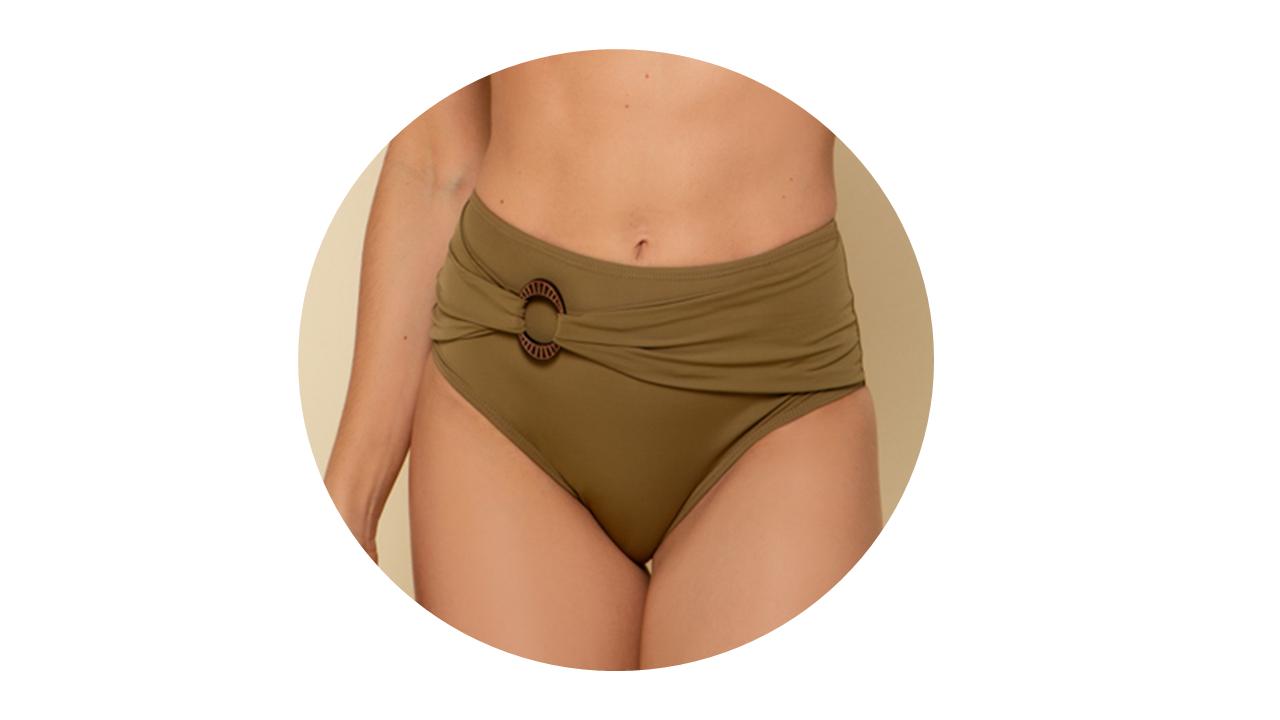 p10276 calcinha biquini hot pant cintura alta lisa verde fivela nova colecao 3
