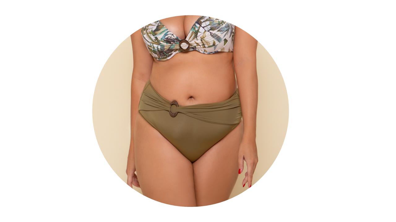 p10276 calcinha biquini hot pant cintura alta lisa verde fivela nova colecao plus size