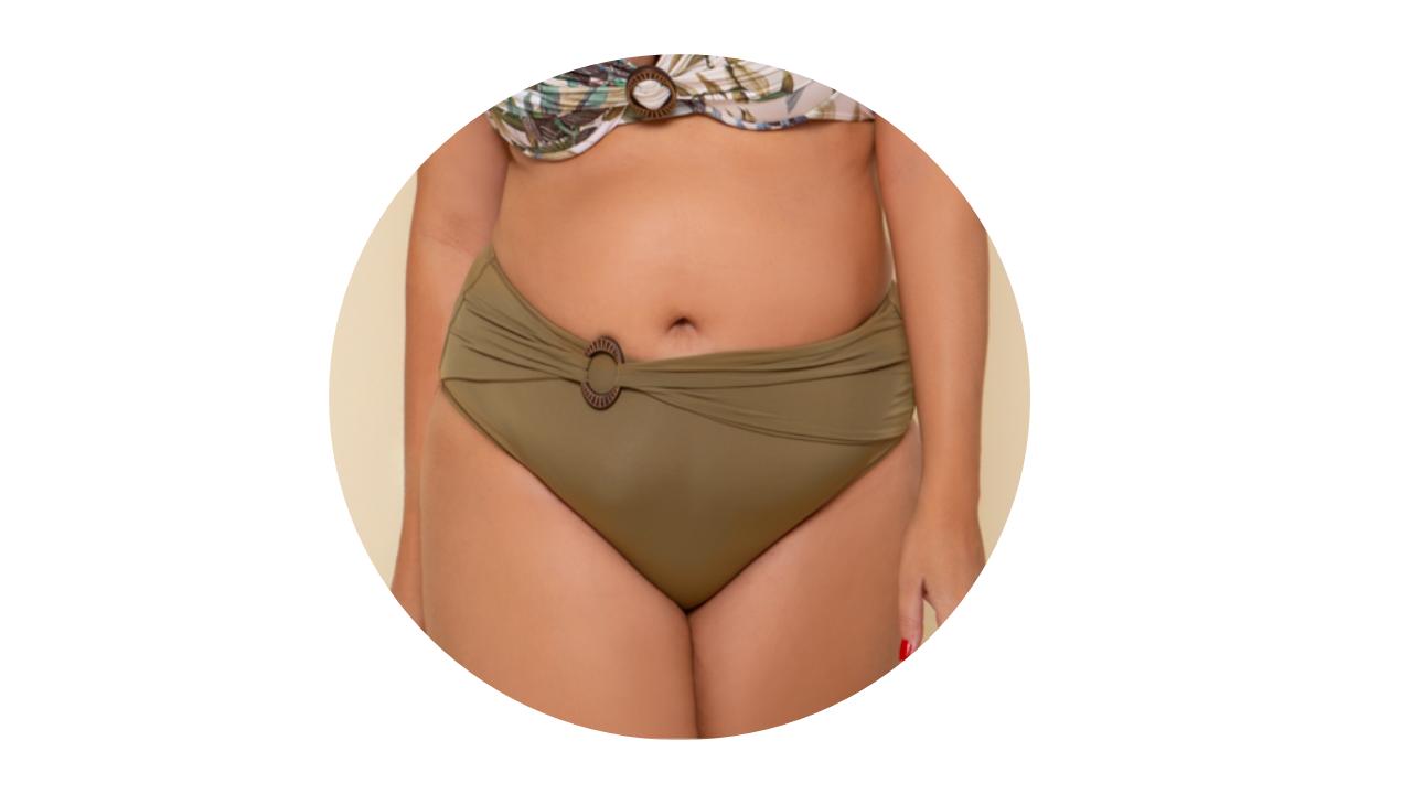 p10276 calcinha biquini hot pant cintura alta lisa verde fivela nova colecao plus size 3
