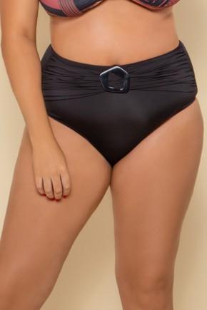 p10277 calcinha biquini cintura alta liso preto fivela plus size 2