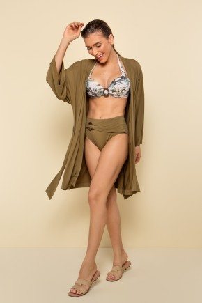 p70334 kimono liso verde manga longa nova colecao