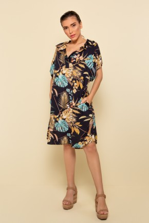 p70372 vestido curto praia estampado floral nova colecao